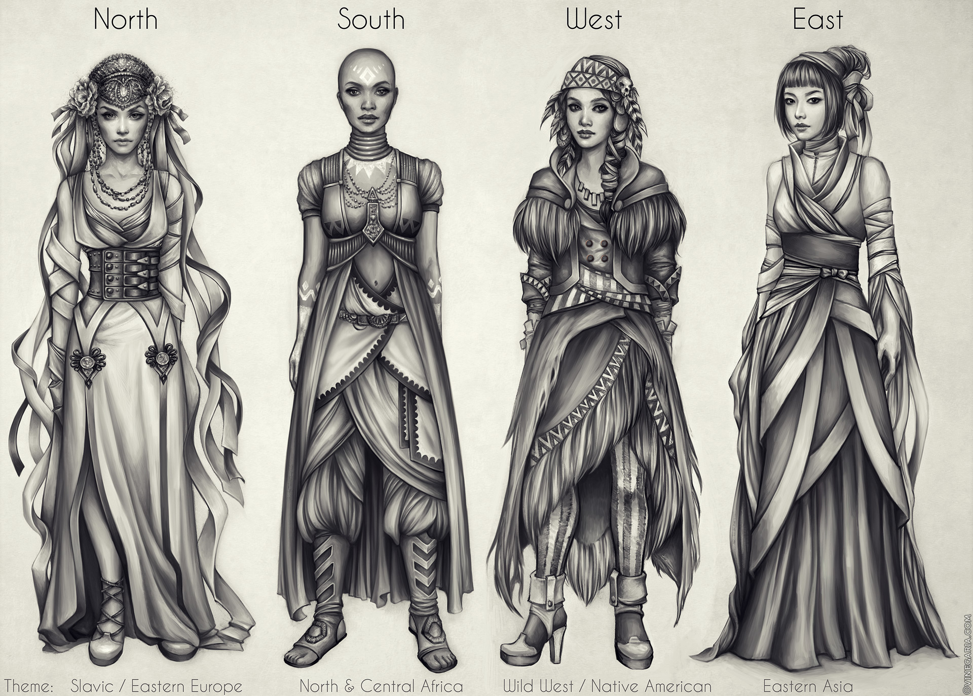 Costumes: North, South, West, East by vinegar