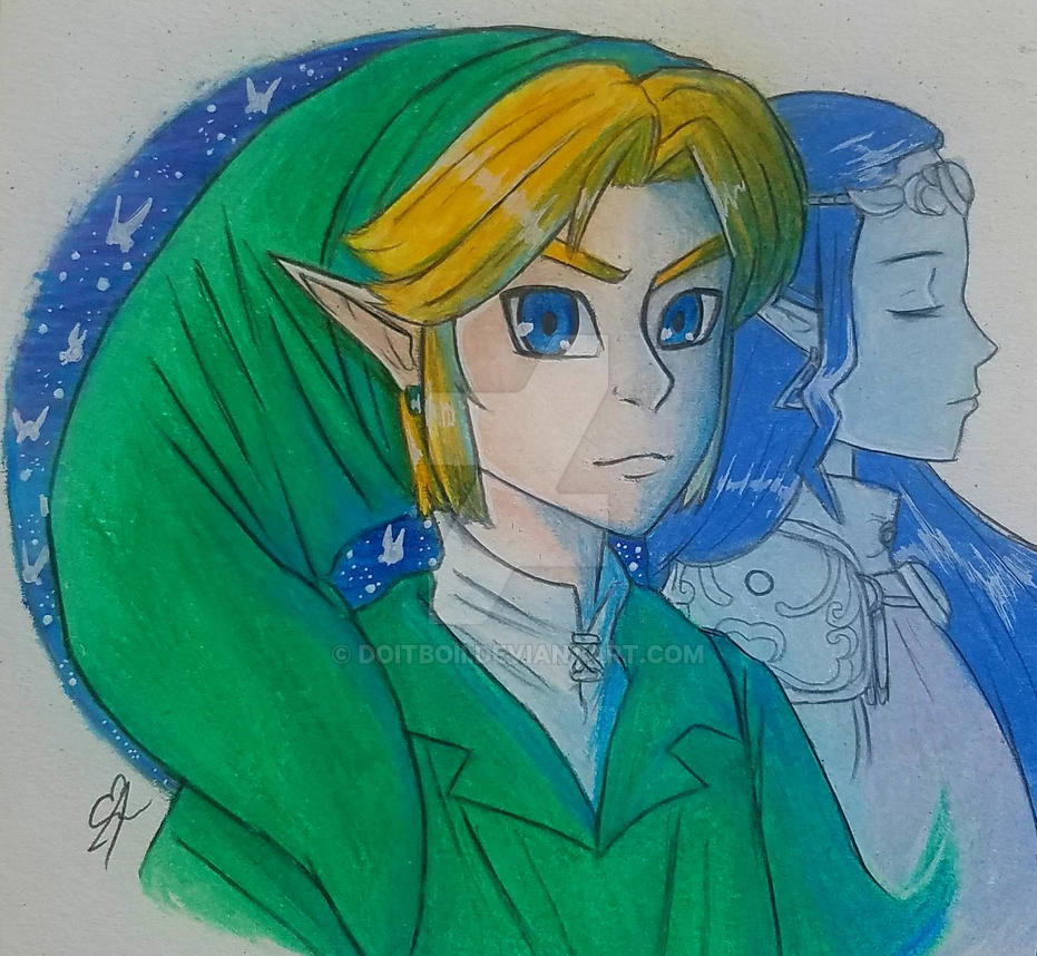 Ocarina Of Time Link and Zelda by doitboii
