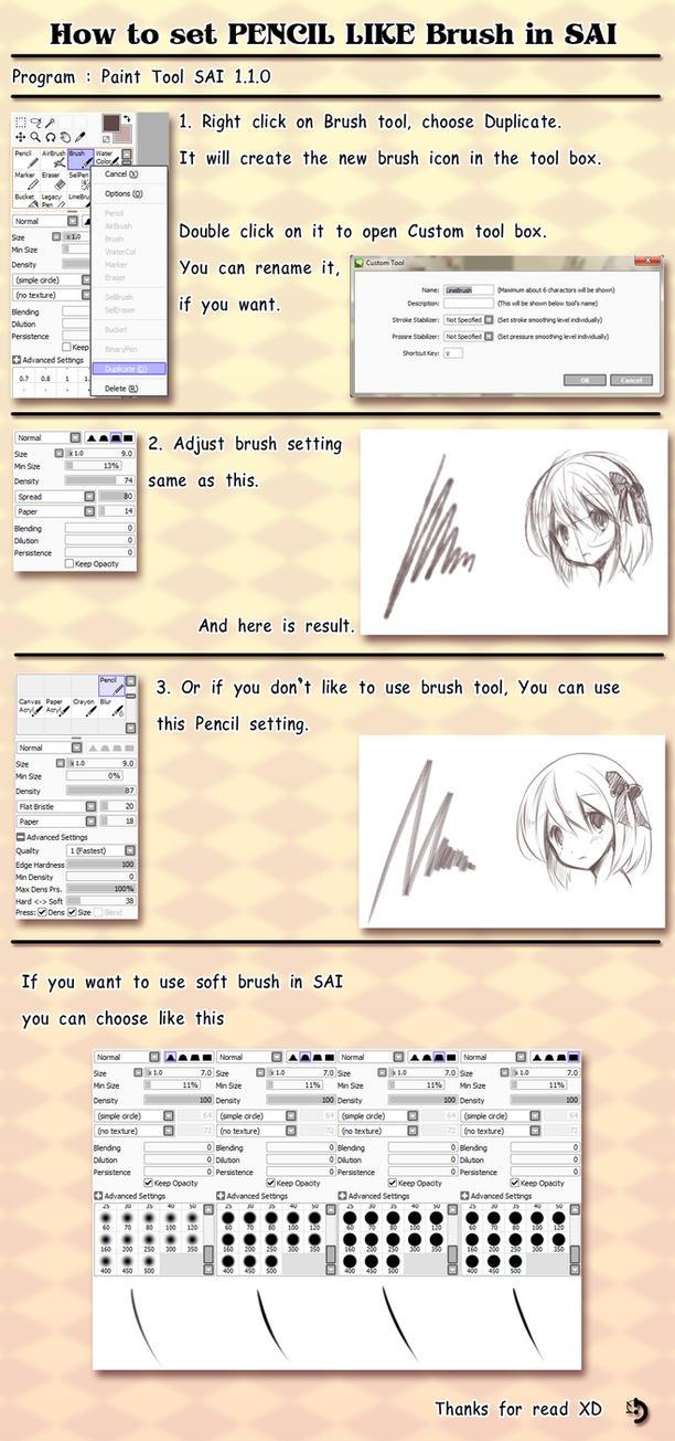 Tutorial - How to set pencil like brush in sai by ninjinshiru