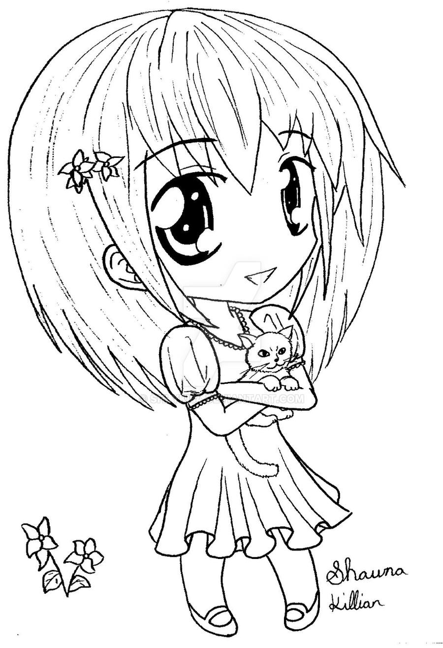 Chibi Anime Cat Drawing Happy Chibi Girl with Cat