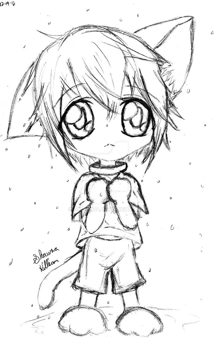 Neko chibi boy in the rain by shlyki84