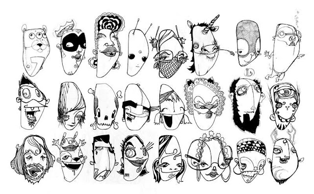 D-Faces,-ink by draweverywhere