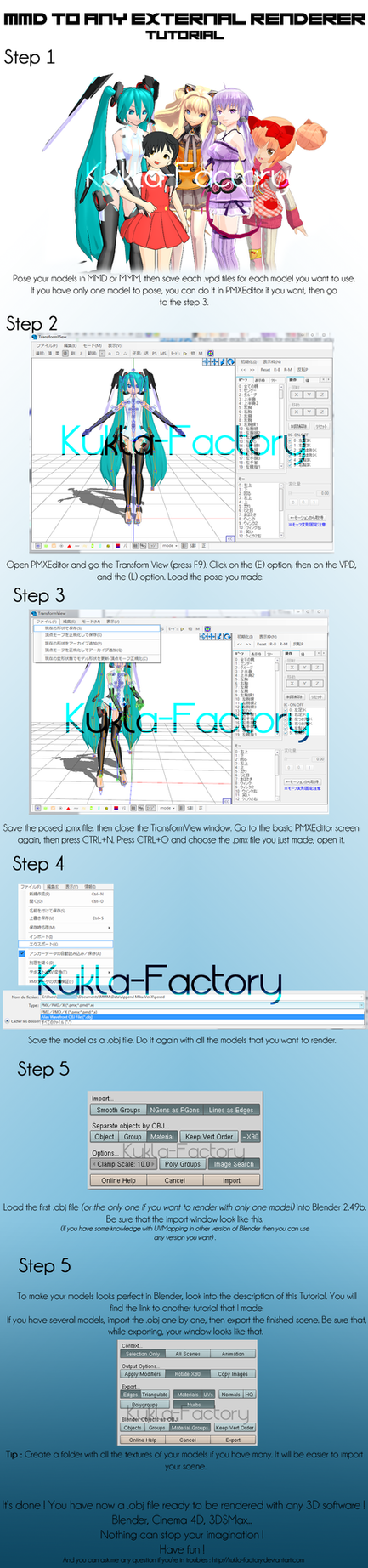 MMD to Any External Renderer Tutorial by Kukla-Factory