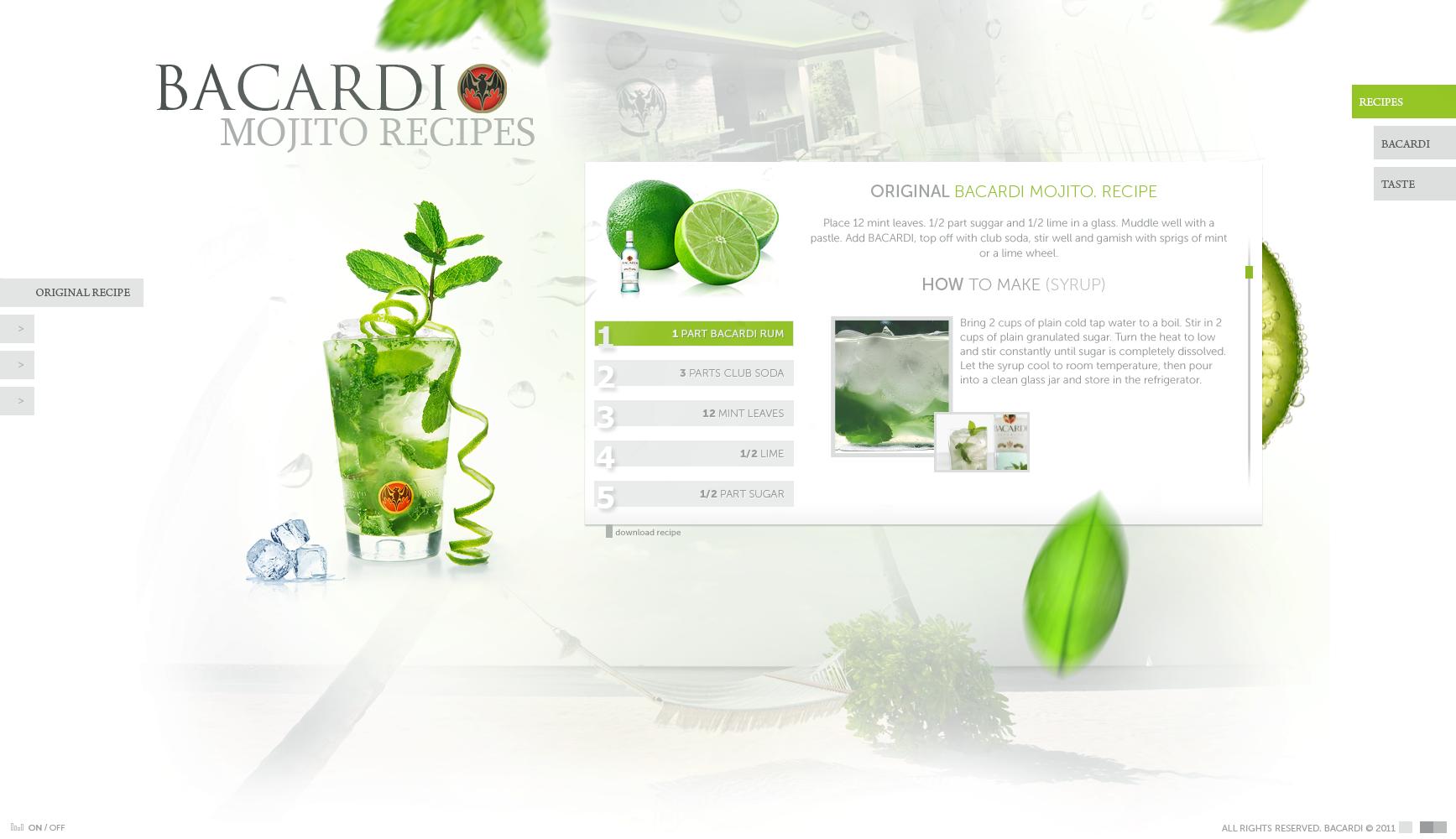 BACARDI Mojito Recipes Design by kristaps-design