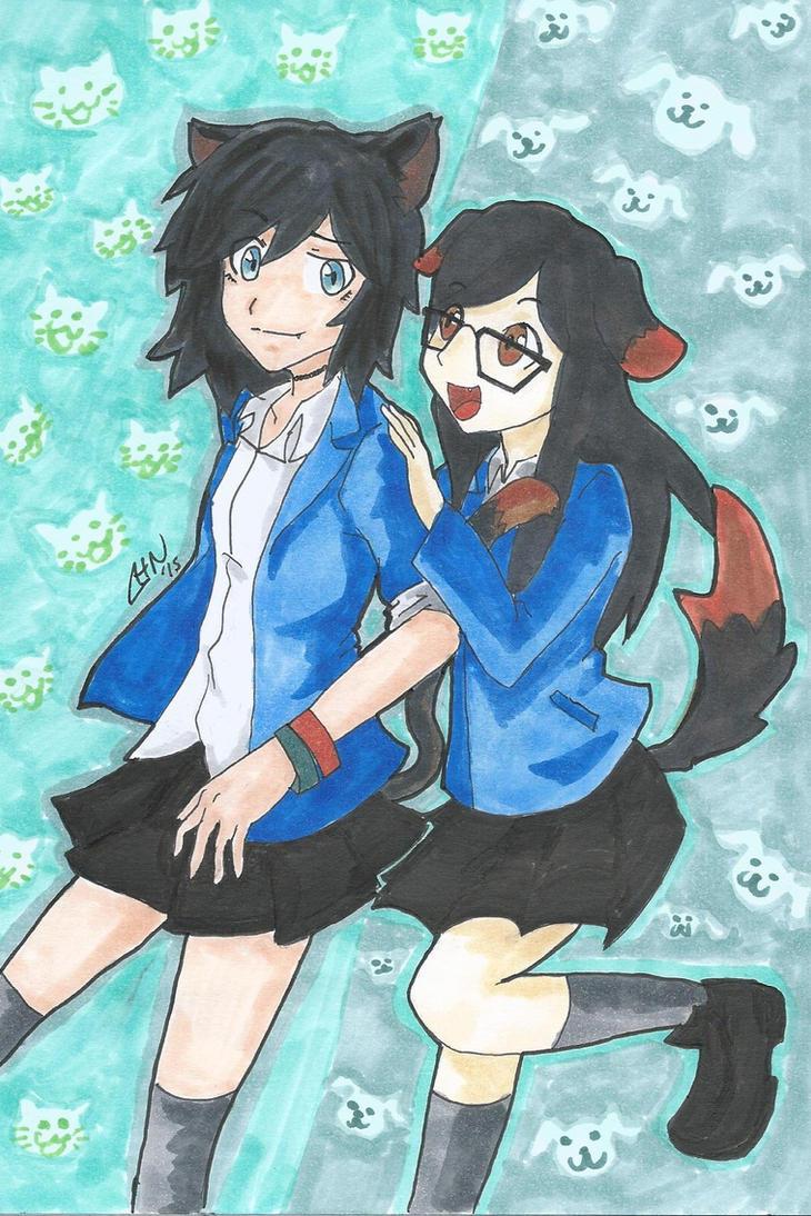 Neko Harley and Inu Jessi by scootalootheotaku007