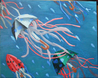 Umbrella Jelly on Rainy Ocean by bigdave2080