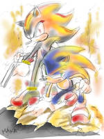 Shadow and kneeled Sonic by manaita
