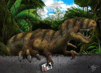 T-rex reading a book by pauloomarcio