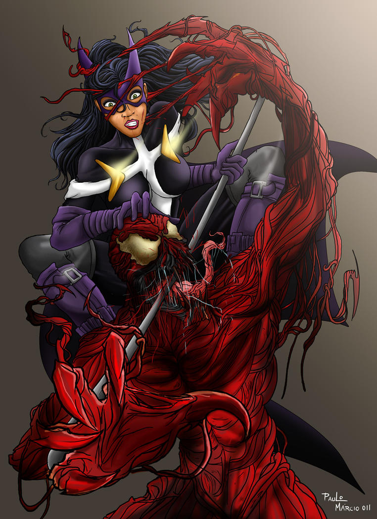 Crossovers Huntress vs Carnage by pauloomarcio