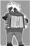 Tanuki playing accordion