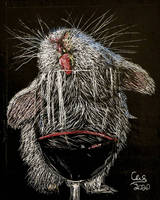 Rabbit Licking Wine Glass