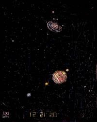 Great Conjunction Saturn-Jupiter 2020 Scratchboard