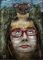 Spirit and image: Kristin with a Marten on head