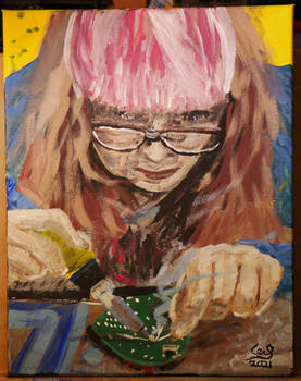 Kristin Soldering   Acrylic on canvas 11x14