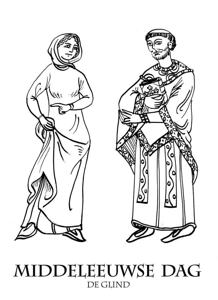Middeleeuwse Middag Kleurplaat 12 by Dewfooter