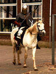 Mounted knight at school