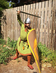10th/11th century soldier brandishing sword