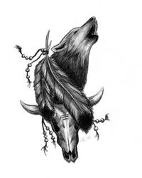Tattoo Design Howling Wolf by Ninaschee