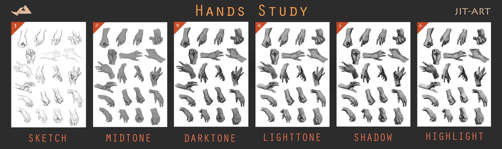 Hands Study Process Steps. by Jit-Art