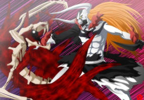 Kyuubi Naruto vs Hollow Ichigo by Vardigiil