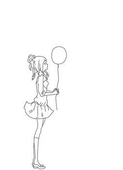 anime girl- line Art