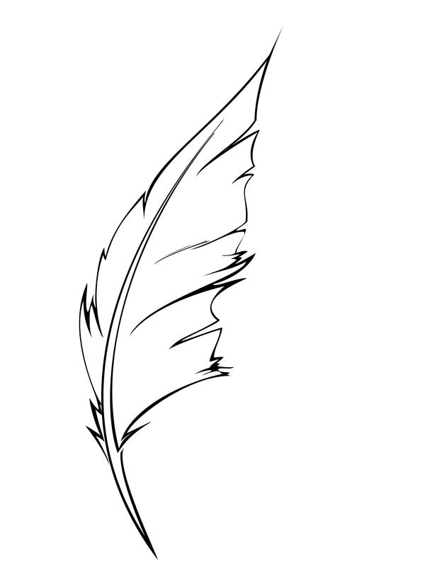Simple feather outline sketch coloring page for Feather outline template
