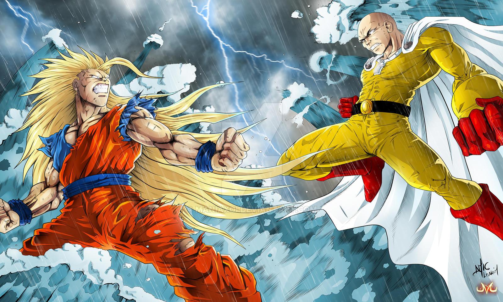 Goku Vs Thanos: Collab : Goku Vs Saitama By Maniaxoi On DeviantArt