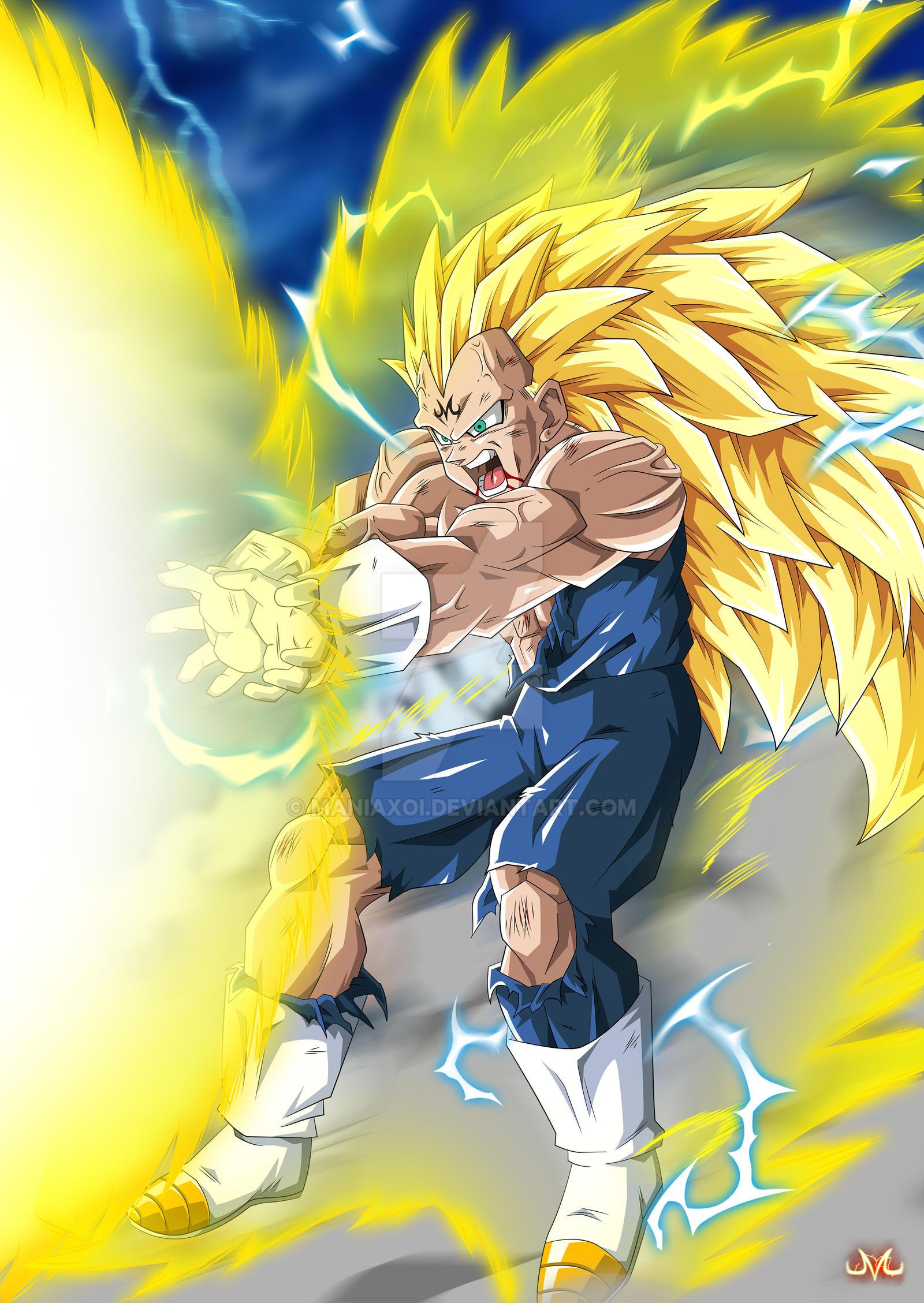 Majin Vegeta SSJ3s Final Flash By Maniaxoi