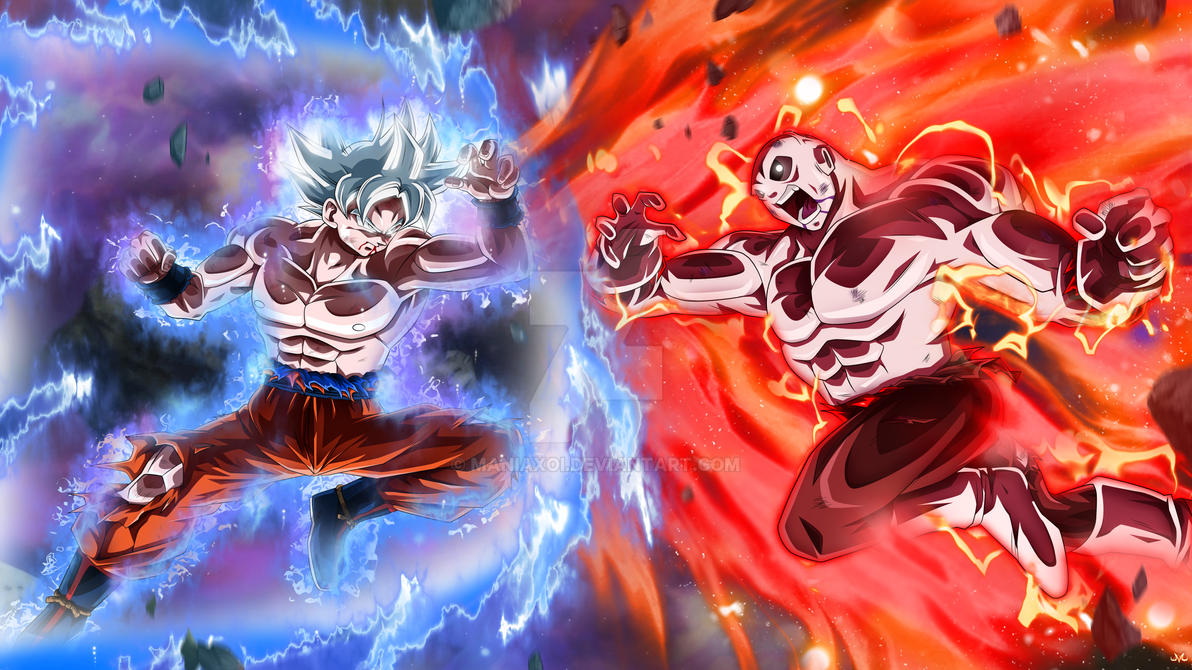 Goku Full Ultra Instinct VS Jiren by Maniaxoi