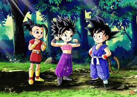 Kid Goku meeting Caulifla and Kale
