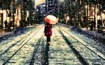 The Girl Walkig In Snow