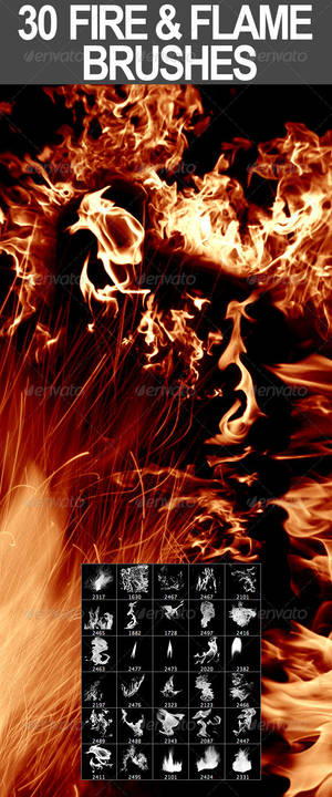 30 Fire + Flame Photoshop Brushes