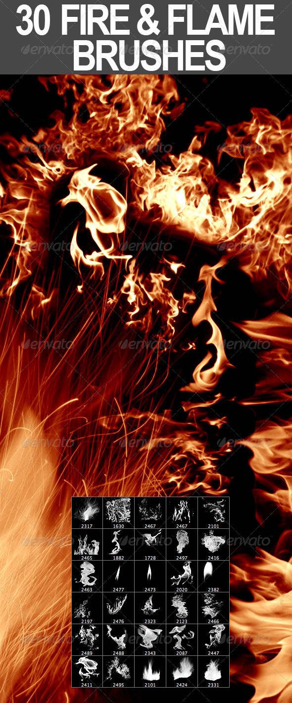 30 Fire + Flame Photoshop Brushes by nadaimages