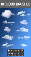 10 Cloud Photoshop Brushes by nadaimages