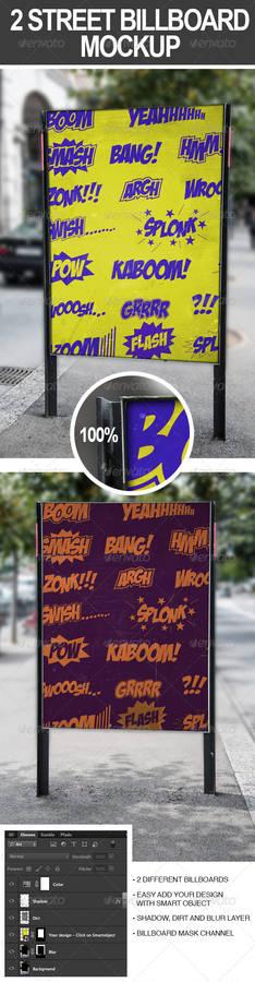 2 Street Billboard Mock-Ups