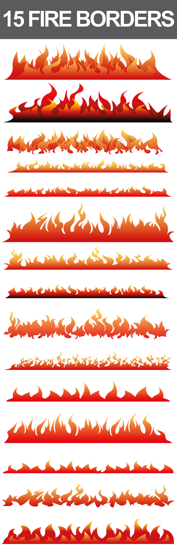 15 Fire Border Vectors by nadaimages