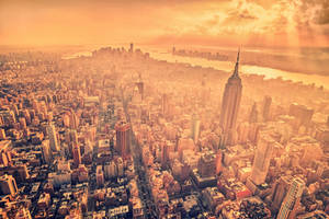 A Birds Eye View Above Manhattan by Matthias-Haker