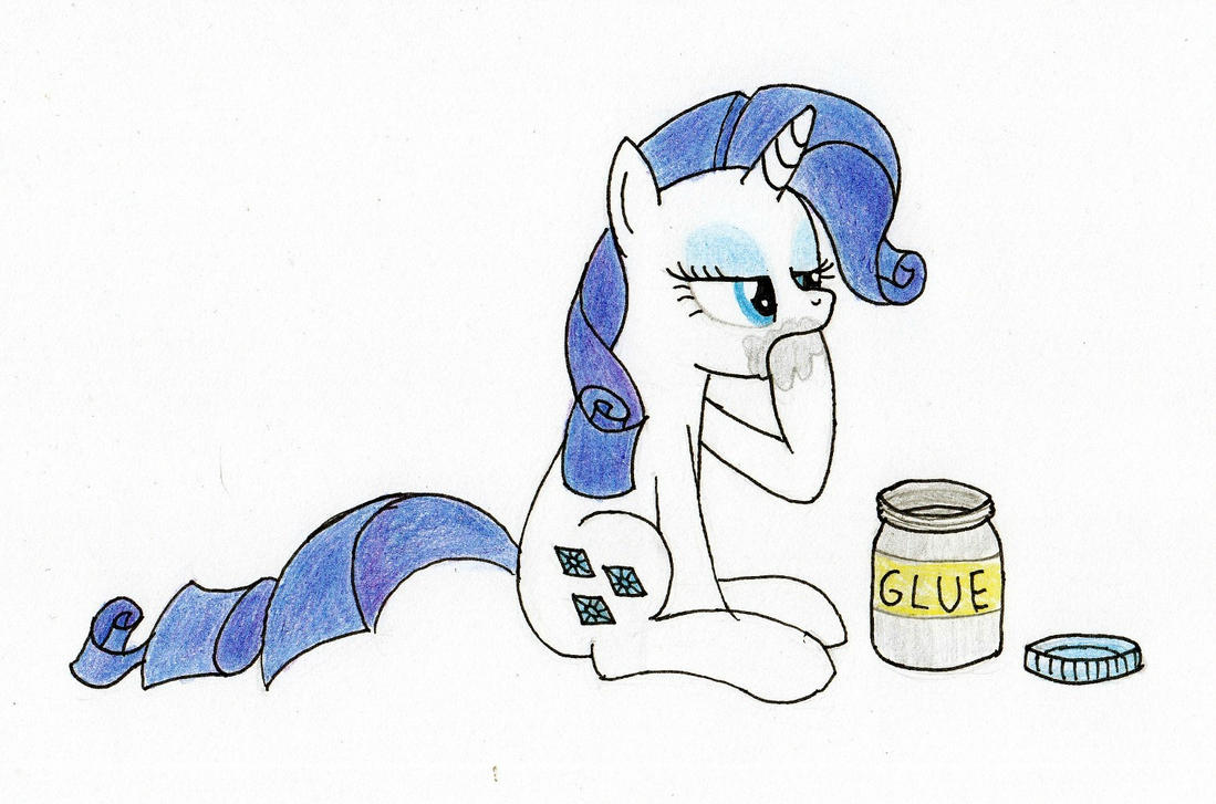 Rarity eating glue by SchnitzelLover