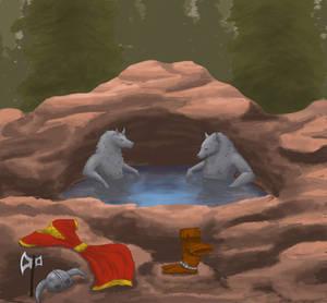 Werewoofs in a hot tub.