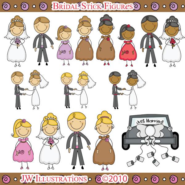 wedding party stick figures