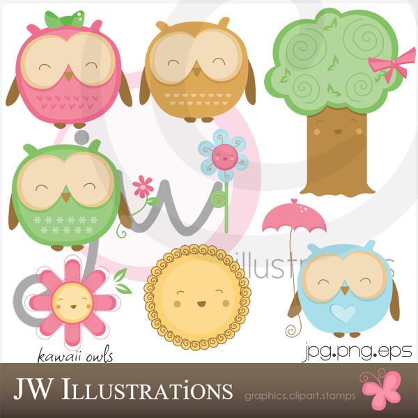 Kawaii Owls by jdDoodles