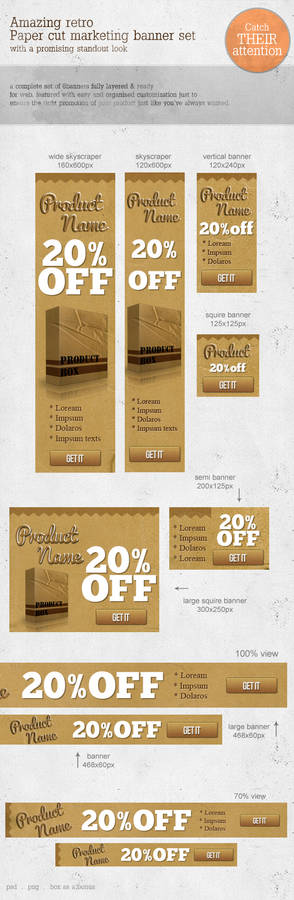 Retro Paper-cut Web Marketing Banners