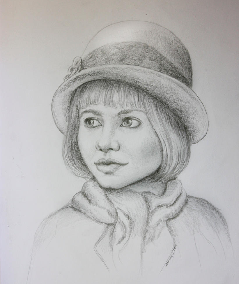 Girl in a hat and scarf - more drawing practice by timwetherell