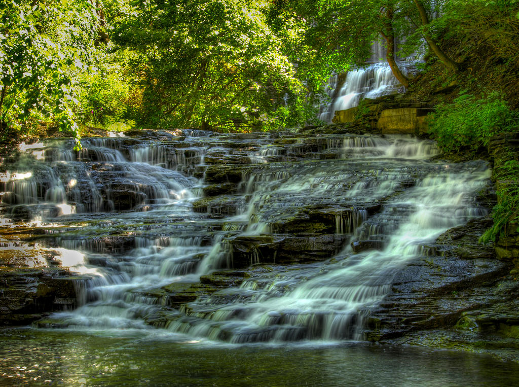 Cascadilla Gorge Falls 13 by Dracoart-Stock