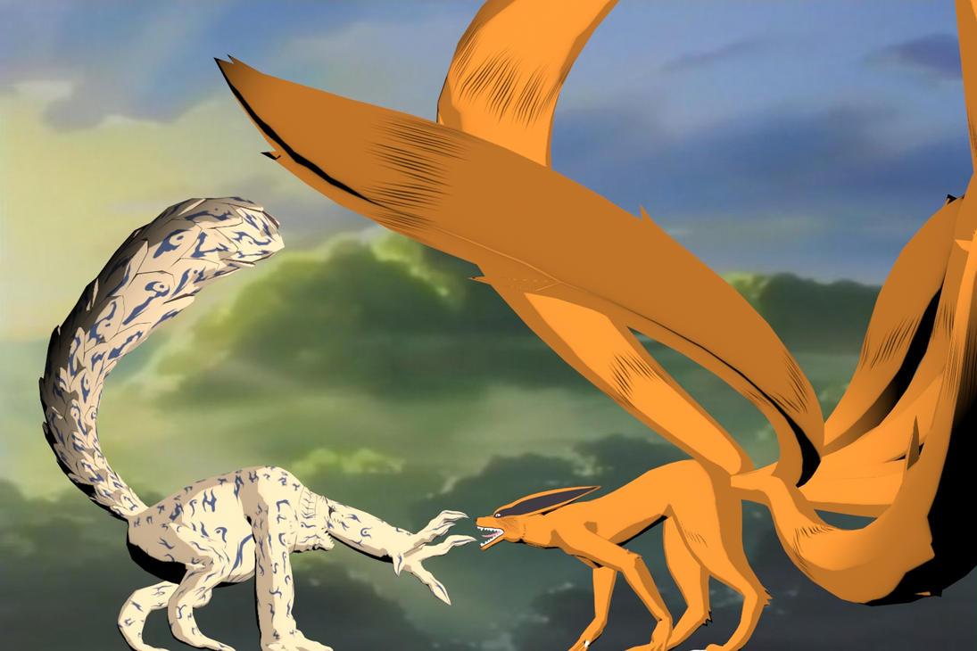 Shukaku VS Kura... Hachibi Vs Sasuke
