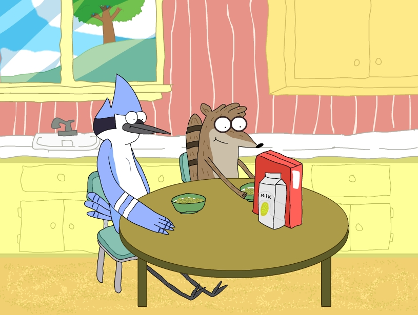 Regular Show - Eating Cereal (Colored) by 123mine123