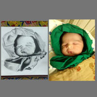 Reference photo and drawing of my son.