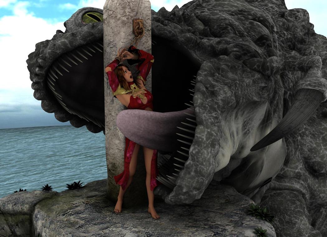 Female altar sacrifice naked scene