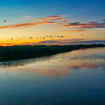 Sunset over Vistula river