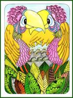 love birds in a magic garden by Cmac13